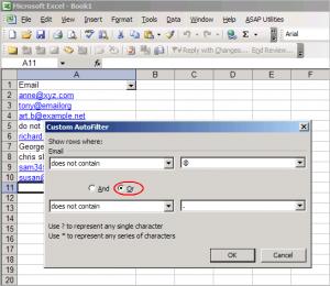 Excel custom auto filter