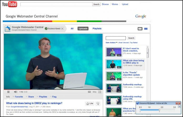 Enounce speed control on top of YouTube video.