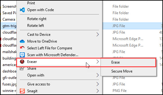 Options when you right-click Eraser in Windows Explorer.
