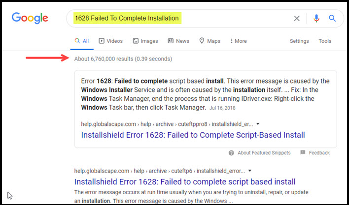 Initial Google search with error text.