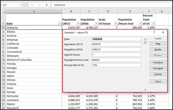 Excel form example