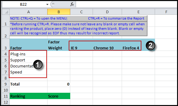 Adding your labels to Excel decision matrix
