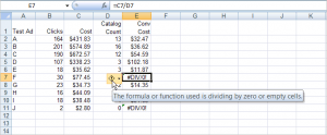 Excel divide by zero error