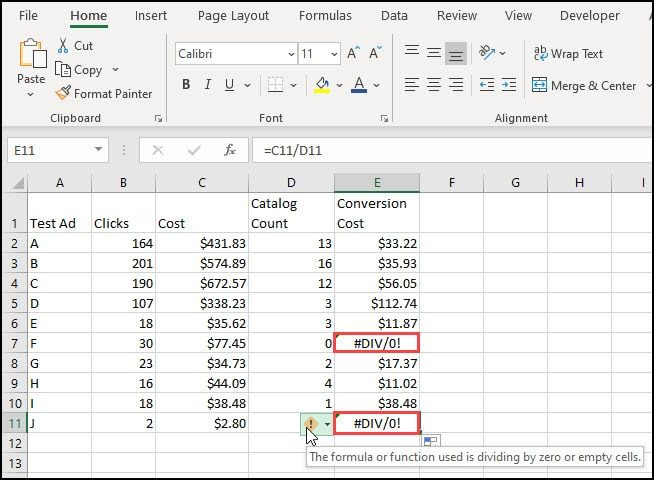 Spreadsheet show 2 examples of DIV 0 error