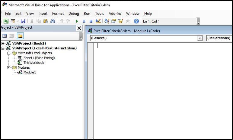 blank code module