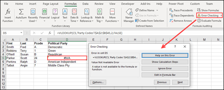 Error Checking dialog showing Not Available error.