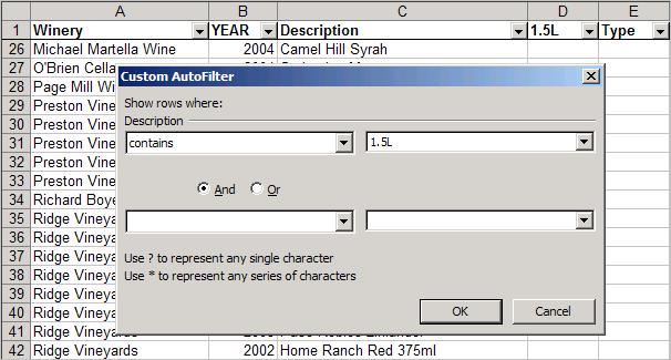 Excel custom autofilter dialog