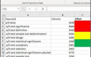Sorted Excel list by color.