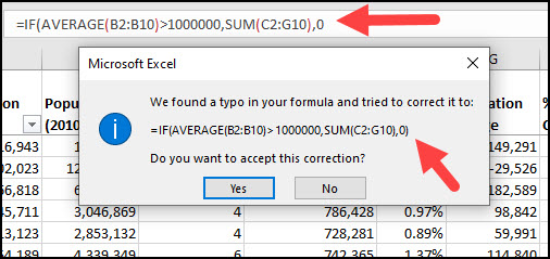 Excel popup asking to confirm correction.