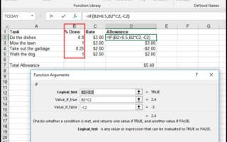 IF condition based on percentate