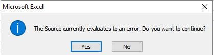 Excel error example