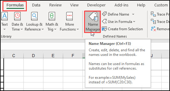 Selecting Name Manager on toolbar.