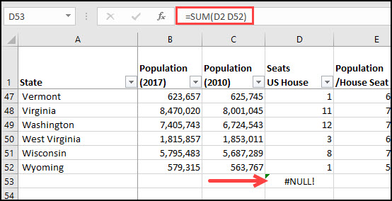 Formula without : produces NULL error.