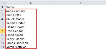 Excel column with full names.