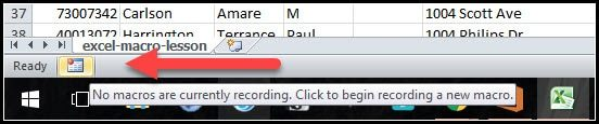 Excel macro recording icon showing on status bar
