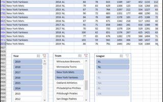 Excel slicers below data rows.