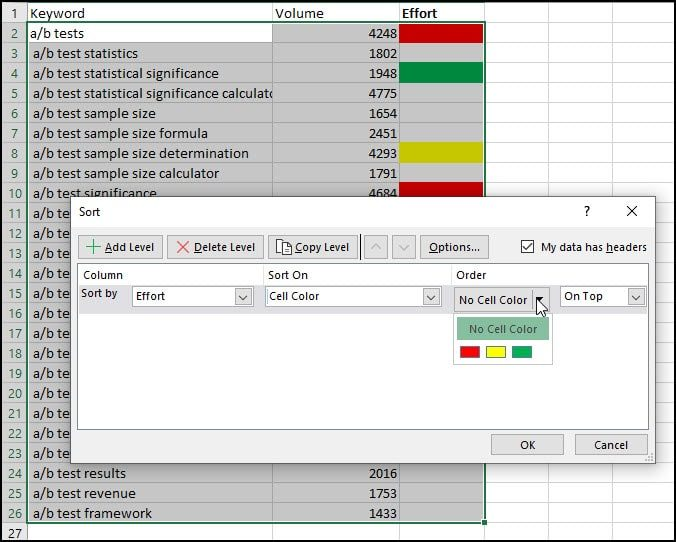 How to Sort Excel by Color • Productivity Portfolio