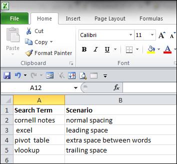 Excel spacing examples