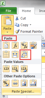 transpose button on paste dialog