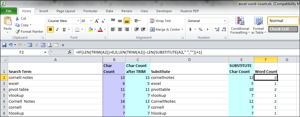 Excel character and word count