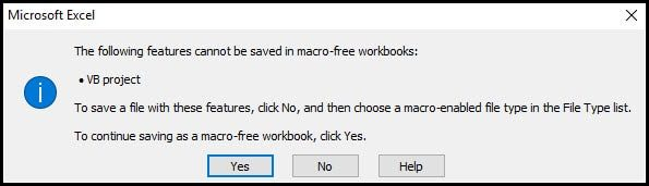 Excel error message for macro