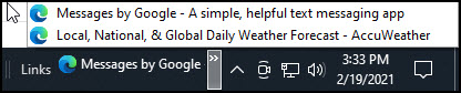 Links toolbar showing page titles.