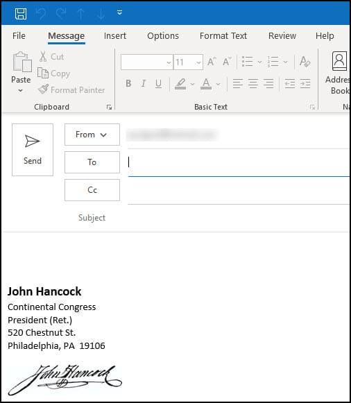 John Hancock signature example in email.