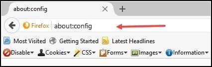 Open Firefox Config panel