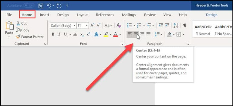 Center toolbar alignment button.