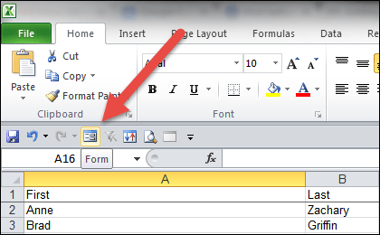 Excel form button