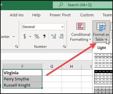 Changing cell range to Excel table.
