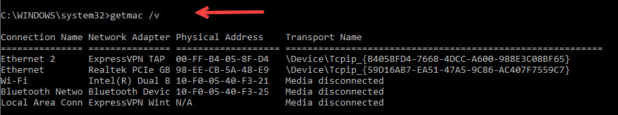 getmac commands with the V switch and device output.