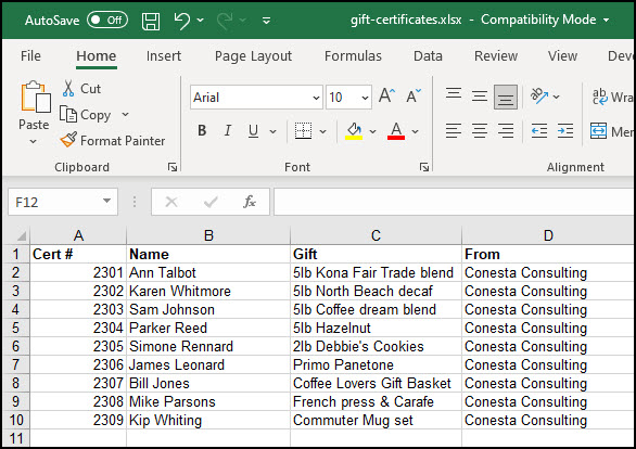 Excel source file with gift recipients.