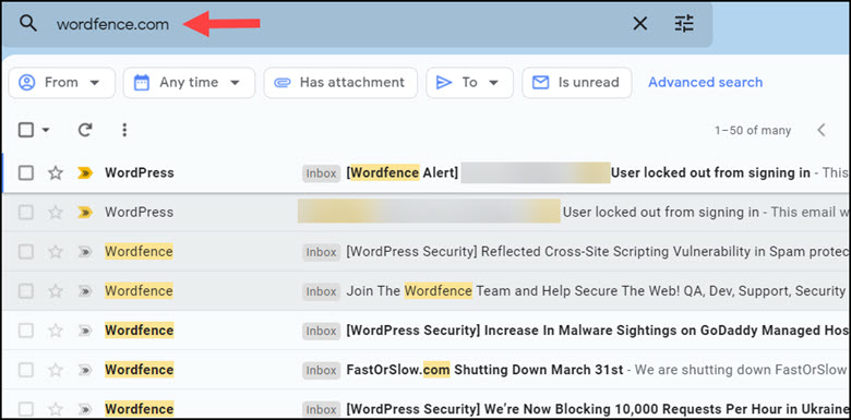 Filtered Gmail by text and additional filters bar.