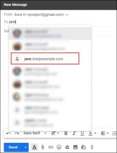 gmail suggesting emails for jane