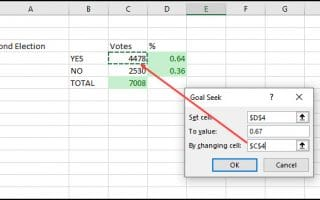 Goal Seek dialog with change cell reference.