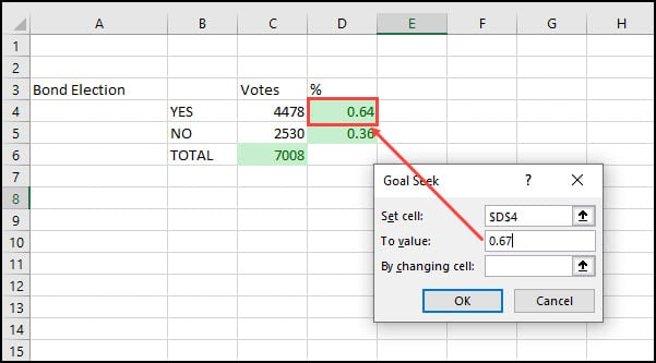 Goal Seek dialog with Set Cell and new To value.