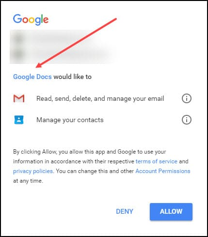 Google account access phishing example