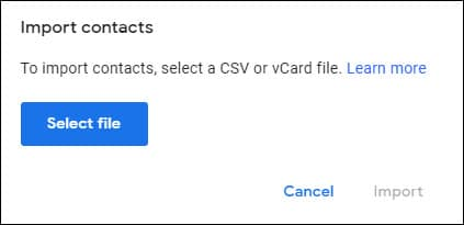 Import contacts pop up with Select file button.