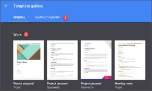 Google Docs template gallery
