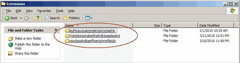 chrome extension folder names