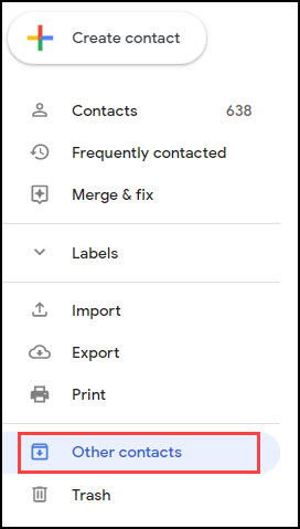 Google Contacts panel with Other contacts highlighted.