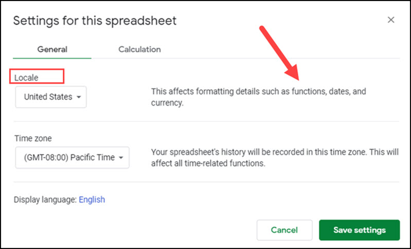 Google Sheets setting for Locale.