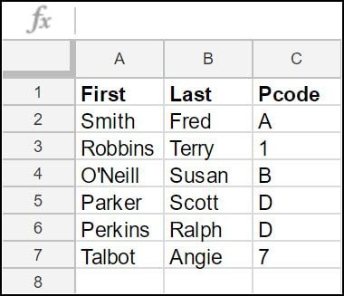 Google Sheets example.