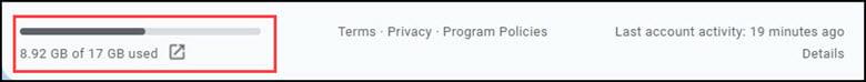 Indicator at bottom of Gmail showing storage usage.