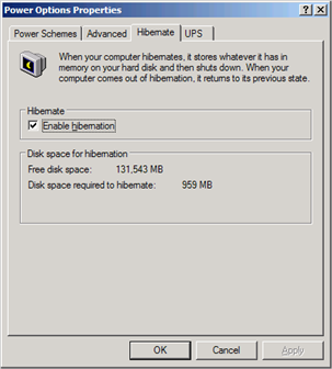 Power Options Properties dialog