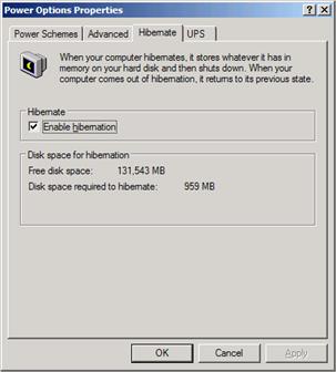 Power Options Properties dialog