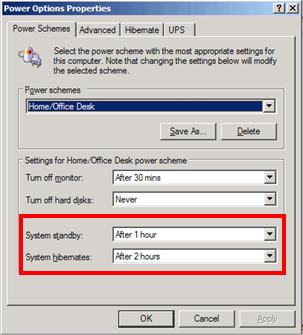 Power schemes tab