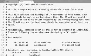 windows hosts file example