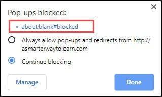 Highlight showing url of blocked item.
